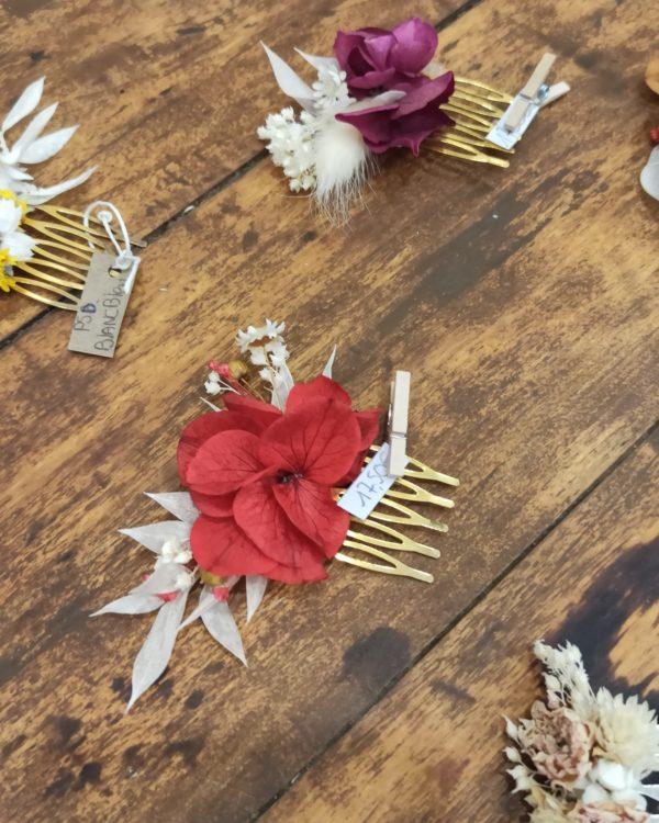 barrette fleur séchées